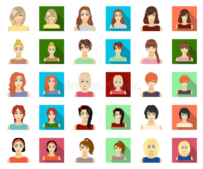 Tipos de historieta femenina de los peinados, iconos planos en la colección del sistema para el diseño Aspecto de una acción del  libre illustration