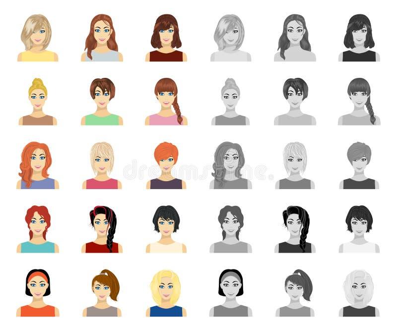 Tipos de historieta femenina de los peinados, mono iconos en la colección determinada para el diseño Aspecto de una acción del sí libre illustration