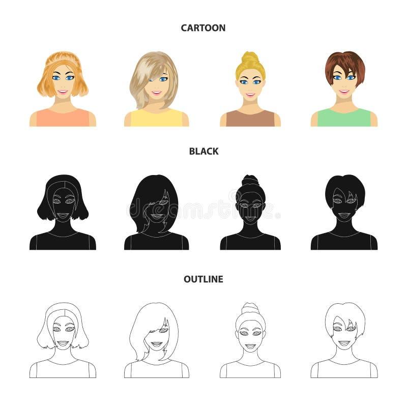 Tipos de historieta femenina de los peinados, negro, iconos del esquema en la colección del sistema para el diseño Aspecto de un  libre illustration