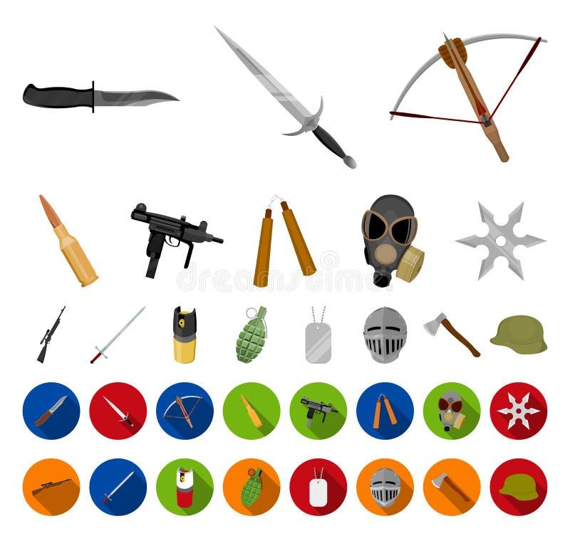 Tipos de historieta de las armas, iconos planos en la colección determinada para el diseño Las armas de fuego y las armas aplanad stock de ilustración