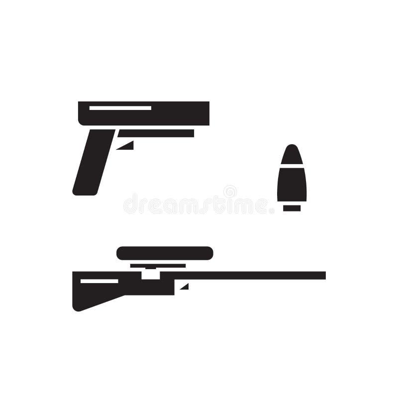 Tipos de icono negro del concepto del vector de las armas Tipos de ejemplo plano de las armas, muestra stock de ilustración