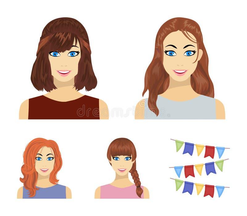 Tipos de iconos femeninos de la historieta de los peinados en la colección del sistema para el diseño Aspecto de un web de la acc stock de ilustración