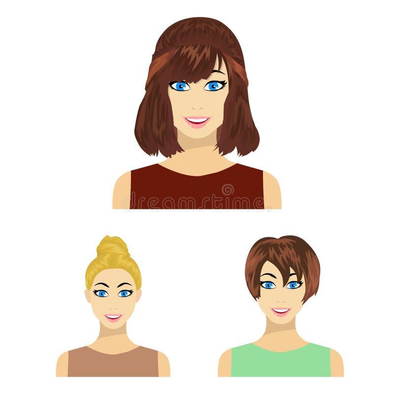 Tipos de iconos femeninos de la historieta de los peinados en la colección del sistema para el diseño Aspecto de un web de la acc ilustración del vector