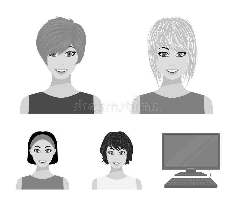 Tipos de iconos monocromáticos de los peinados femeninos en la colección del sistema para el diseño Aspecto de un web de la acció stock de ilustración