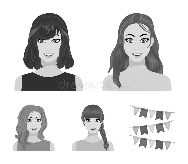 Tipos de iconos monocromáticos de los peinados femeninos en la colección del sistema para el diseño Aspecto de un web de la acció ilustración del vector