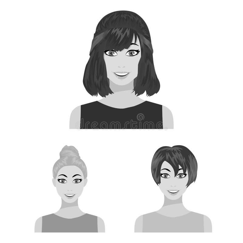 Tipos de iconos monocromáticos de los peinados femeninos en la colección del sistema para el diseño Aspecto de un web de la acció libre illustration