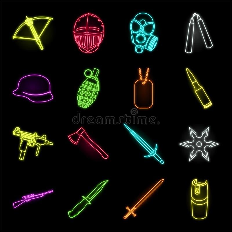 Tipos de iconos de neón de las armas en la colección determinada para el diseño Las armas de fuego y las armas aplanadas vector e stock de ilustración