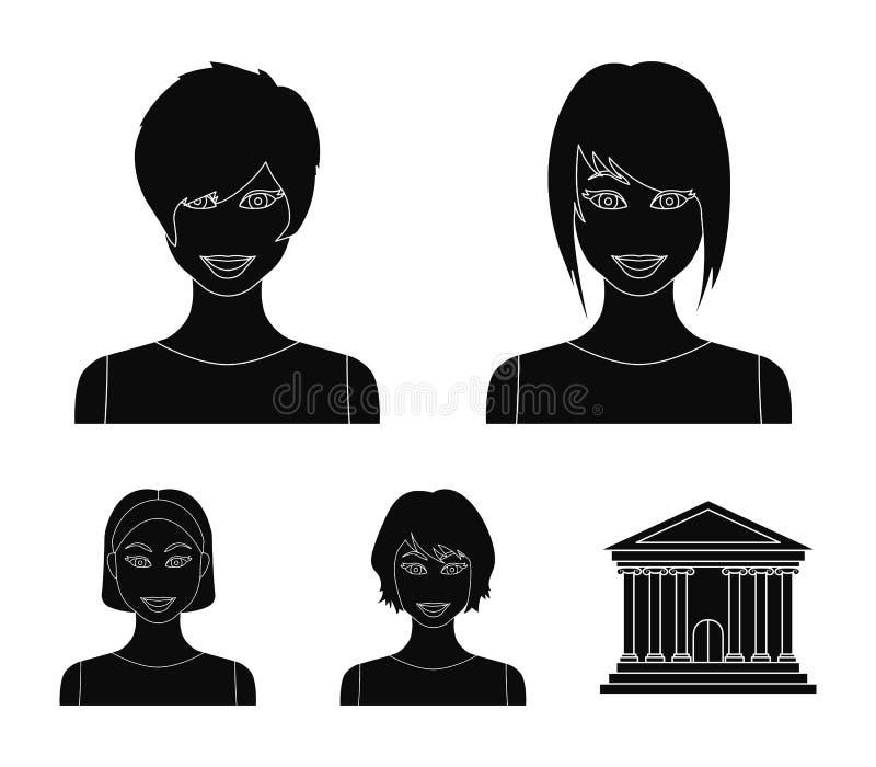 Tipos de iconos negros de los peinados femeninos en la colección del sistema para el diseño Aspecto de un web de la acción del sí ilustración del vector