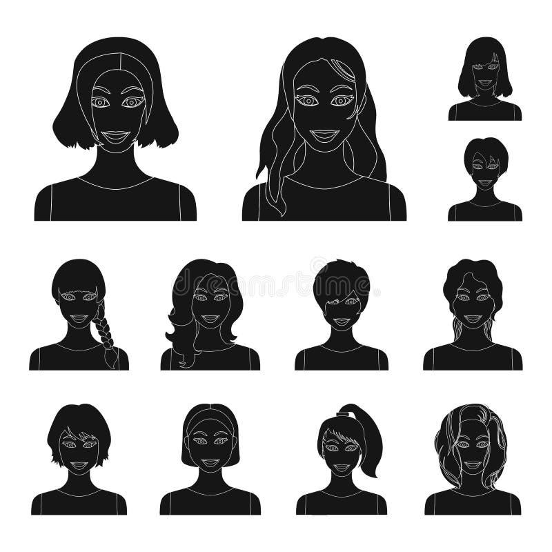 Tipos de iconos negros de los peinados femeninos en la colección del sistema para el diseño Aspecto de un web de la acción del sí stock de ilustración