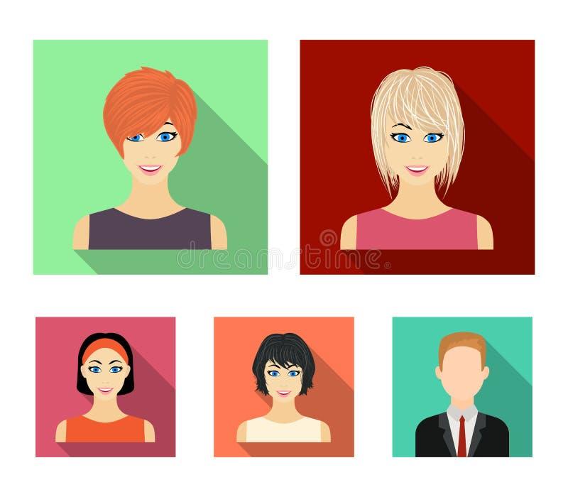 Tipos de iconos planos de los peinados femeninos en la colección del sistema para el diseño Aspecto de un web de la acción del sí libre illustration