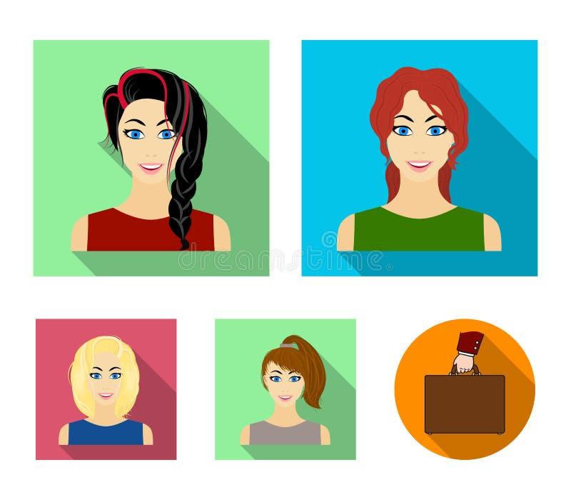 Tipos de iconos planos de los peinados femeninos en la colección del sistema para el diseño Aspecto de un web de la acción del sí stock de ilustración
