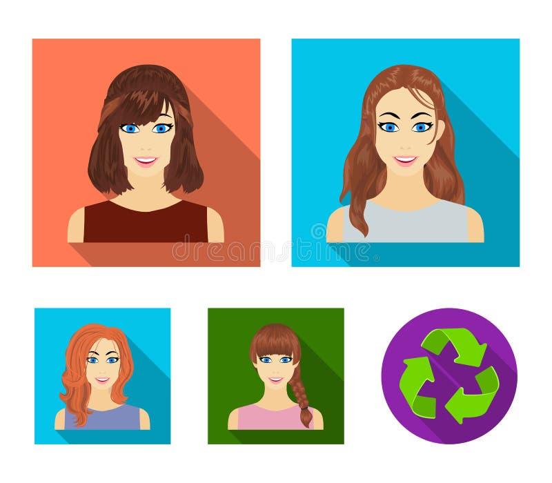 Tipos de iconos planos de los peinados femeninos en la colección del sistema para el diseño Aspecto de un web de la acción del sí ilustración del vector