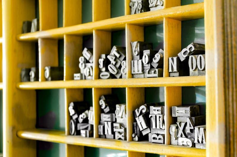Tipos de la prensa de copiar del metal imagenes de archivo