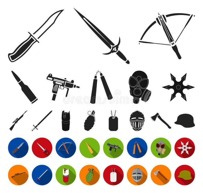 Tipos de las armas negras, iconos planos en la colección determinada para el diseño Las armas de fuego y las armas aplanadas vect libre illustration