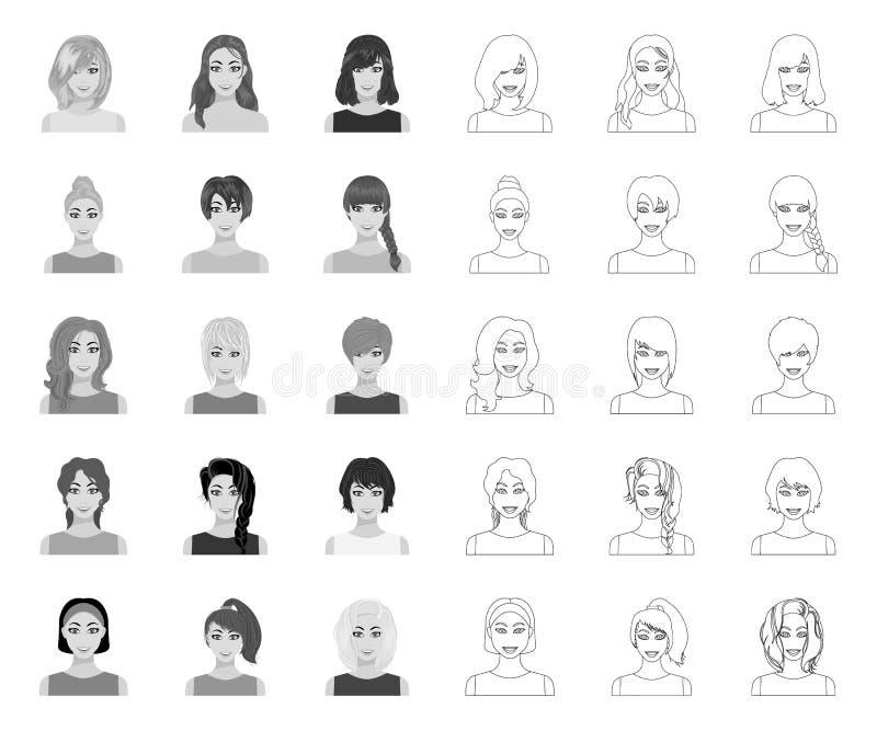 Tipos de los peinados femeninos mono, iconos del esquema en la colección determinada para el diseño Aspecto de una acci?n del s?m ilustración del vector