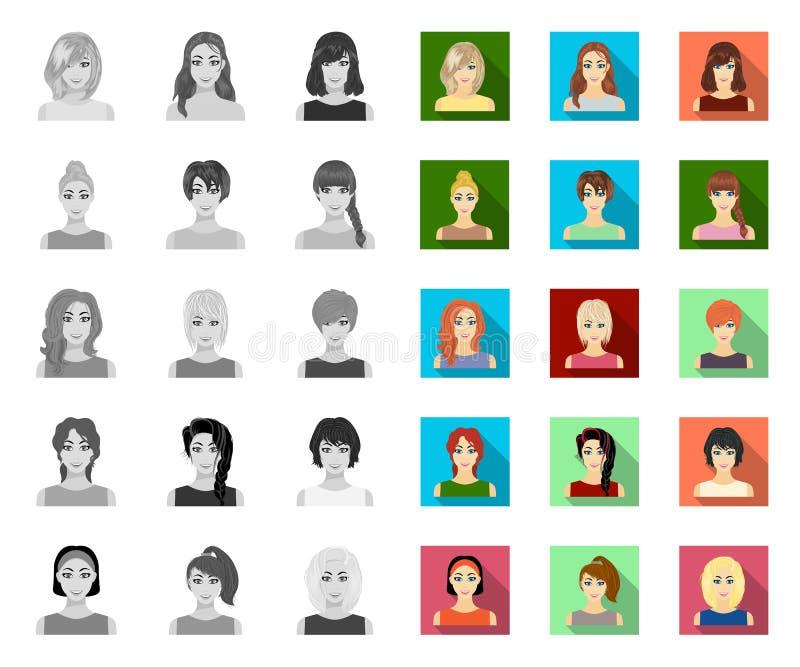 Tipos de los peinados femeninos mono, iconos planos en la colección determinada para el diseño Aspecto de un web de la acci?n del ilustración del vector