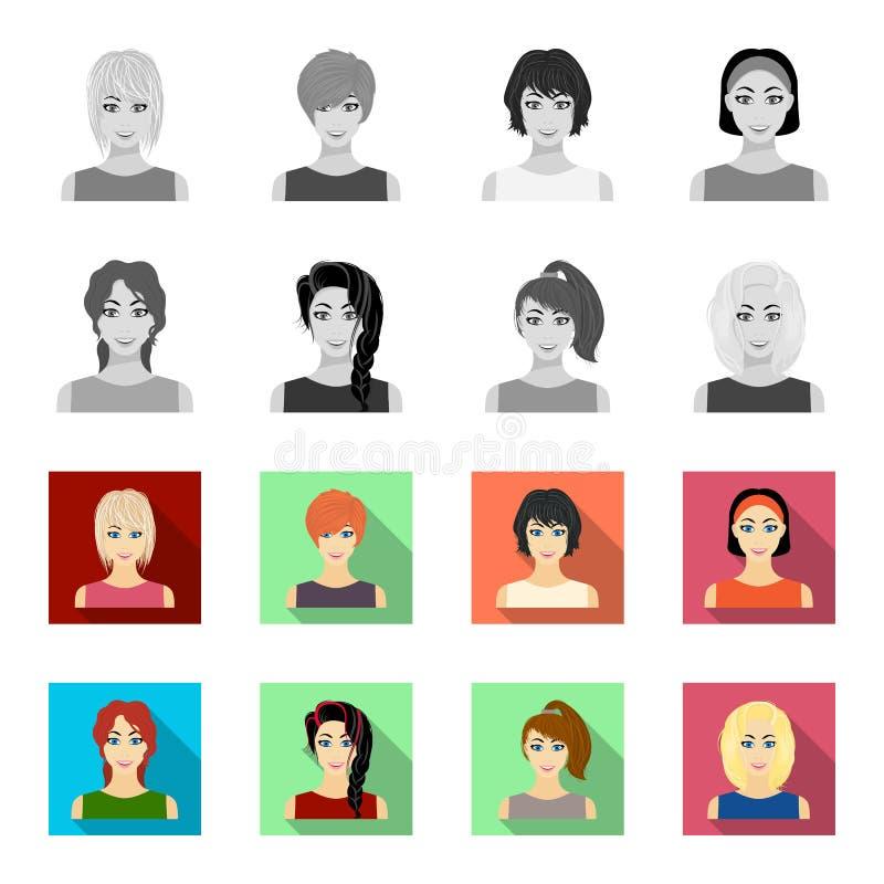 Tipos de los peinados femeninos monocromáticos, iconos planos en la colección del sistema para el diseño Aspecto de una acción de stock de ilustración