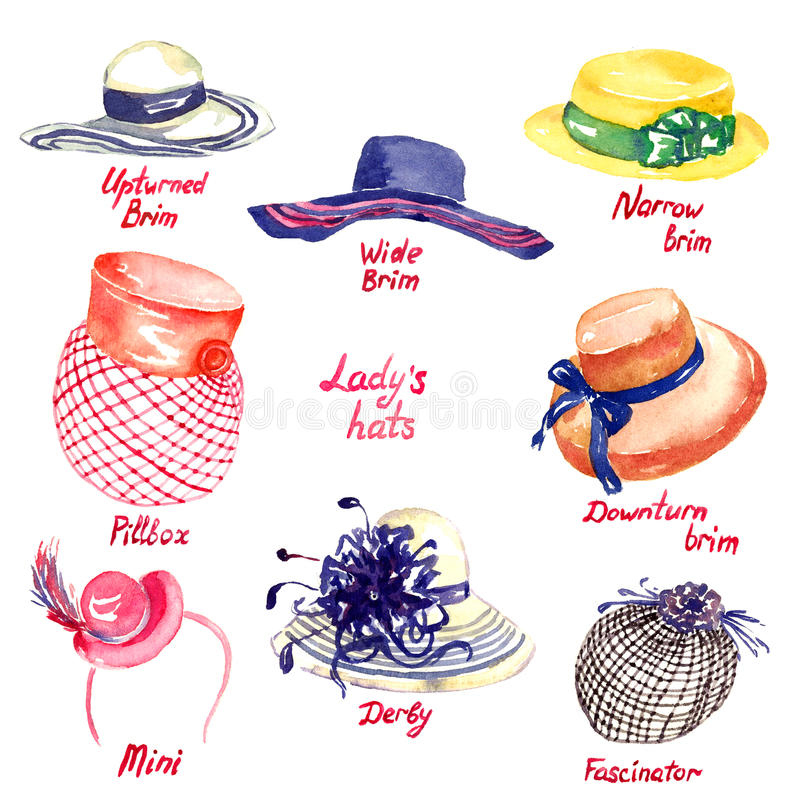 Tipos de los sombreros del ` s de la señora stock de ilustración