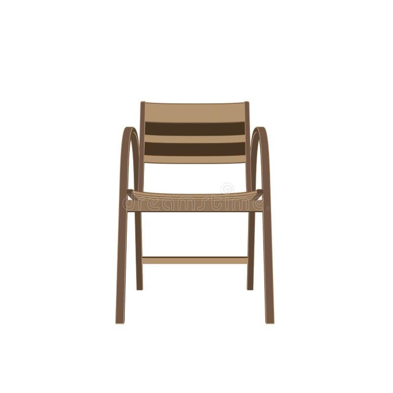 Tipos de madera que asientan vector de la silla Hogar, café y butaca retra Ejemplo plano aislado historieta simple Madera moderna stock de ilustración