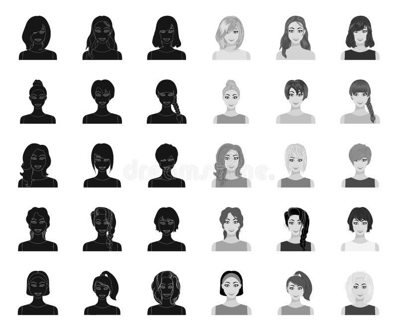 Tipos de negro femenino de los peinados r Aspecto de un web de la acci?n del s?mbolo del vector de la mujer ilustración del vector