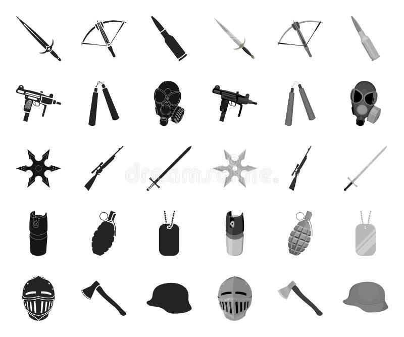 Tipos de negro de las armas r Las armas de fuego y las armas aplanadas vector el web com?n del s?mbolo stock de ilustración