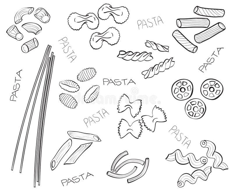 Tipos de pastas - ilustración a mano libre illustration