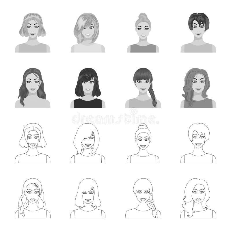 Tipos de peinados femeninos esquema, iconos monocromáticos en la colección del sistema para el diseño Aspecto de un símbolo del v stock de ilustración