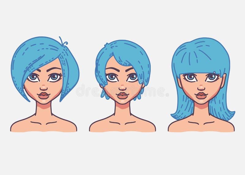 Tipos de penteados f?meas ilustração do vetor