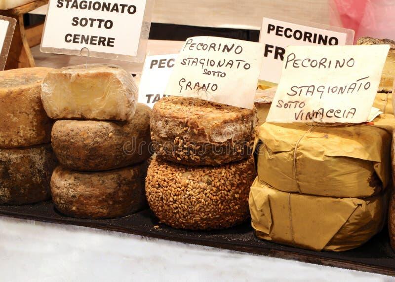 Tipos de queijo do pecorino do texto italiano o queijo que amadurece-se imagens de stock