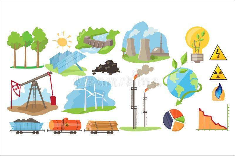 Tipos de recursos naturales para producir energía del eco Industria de la producción de electricidad Fuente alternativa de poder stock de ilustración