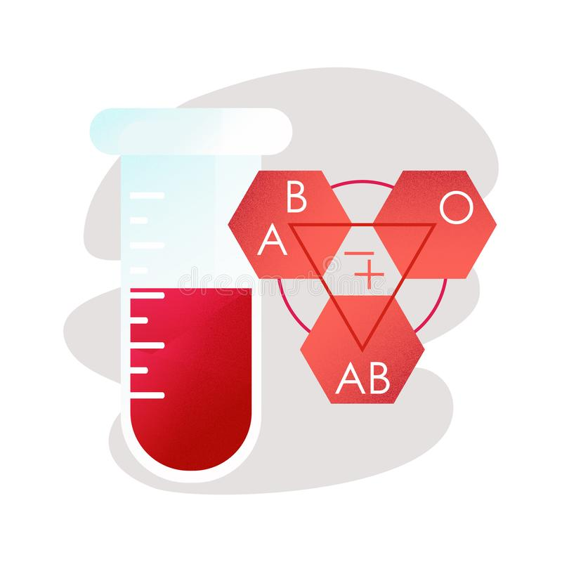 Tipos de sangre Tubo de prueba con sangre ilustración del vector