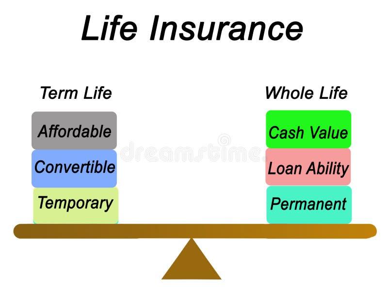 Tipos de seguro de vida ilustración del vector