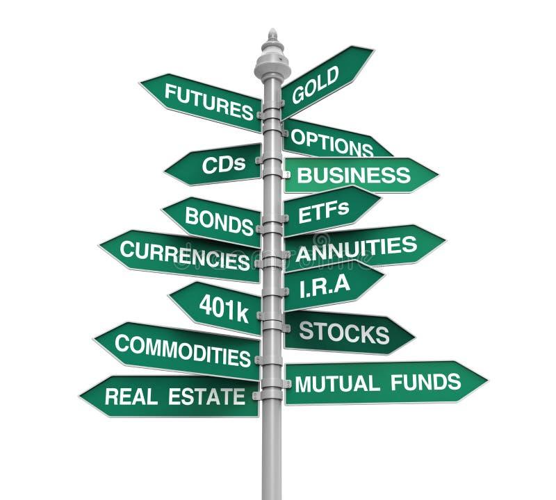 Tipos de sinal de sentido dos investimentos ilustração royalty free