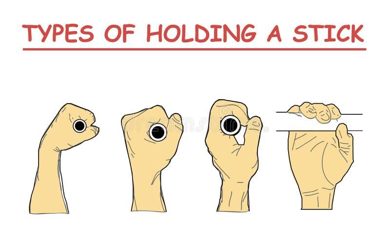 Tipos de sostener un palillo la combinación cuatro de posiciones de la mano imita la barra horizontal que lleva a cabo una cáscar ilustración del vector