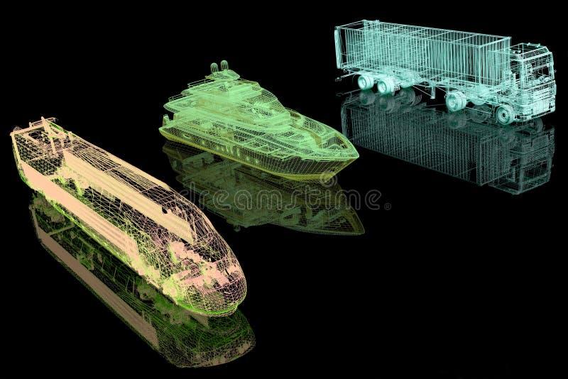 Tipos de transporte stock de ilustración