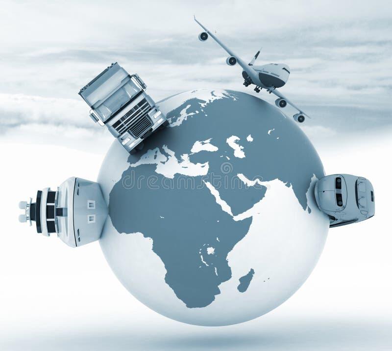 Tipos de transporte en un globo stock de ilustración