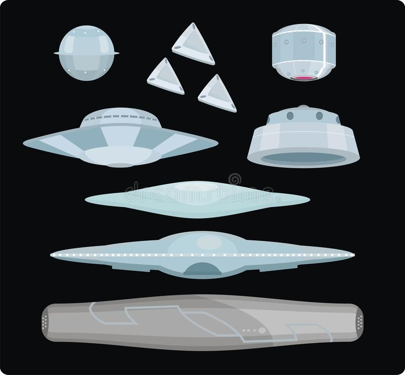 Tipos de UFOs ilustração stock