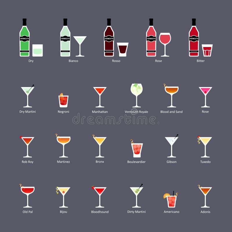 Tipos de vermute e de cocktail com vermute, grupo de ícones lisos ilustração do vetor