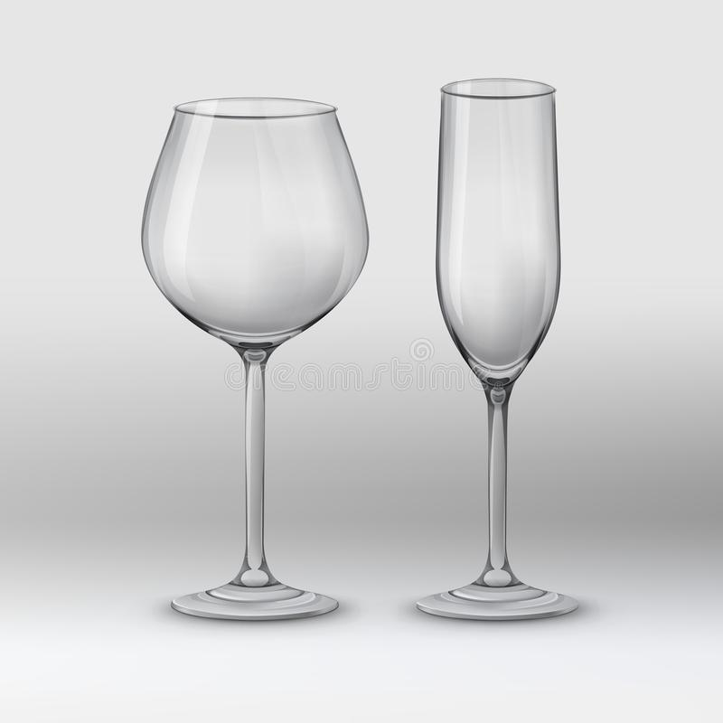 Tipos de vidros ilustração royalty free