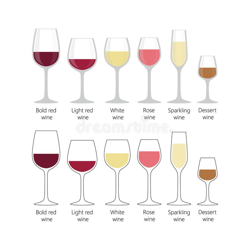 Tipos de vidros de vinho ajustados Vidros de vinho completos coloridos ilustração royalty free
