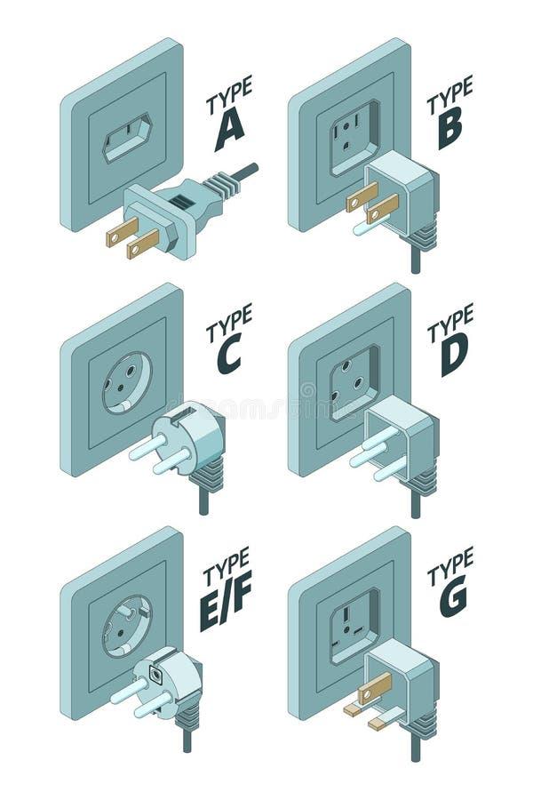 Tipos del enchufe Ejemplos isométricos del vector del metro 3d del conector de la caja de la energía de la electricidad libre illustration