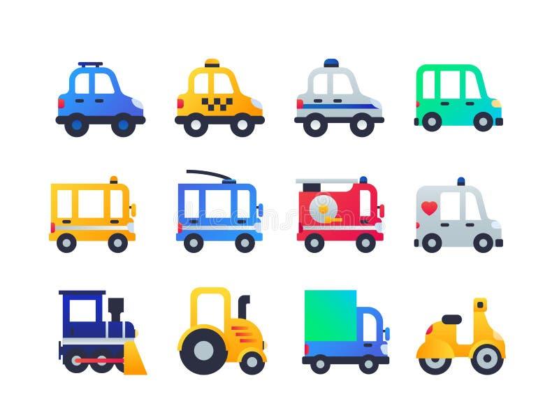 Tipos del vehículo - sistema de iconos planos del estilo del diseño libre illustration