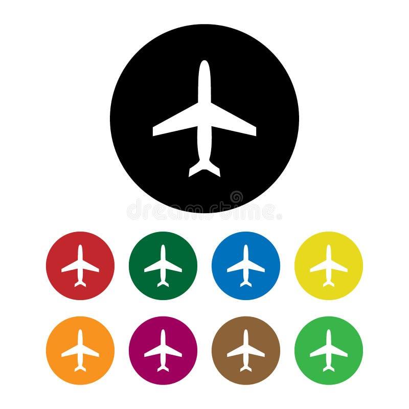 Tipos determinados estilo plano del aeroplano del negro de la silueta de la historieta diversos del diseño del elemento del conce stock de ilustración