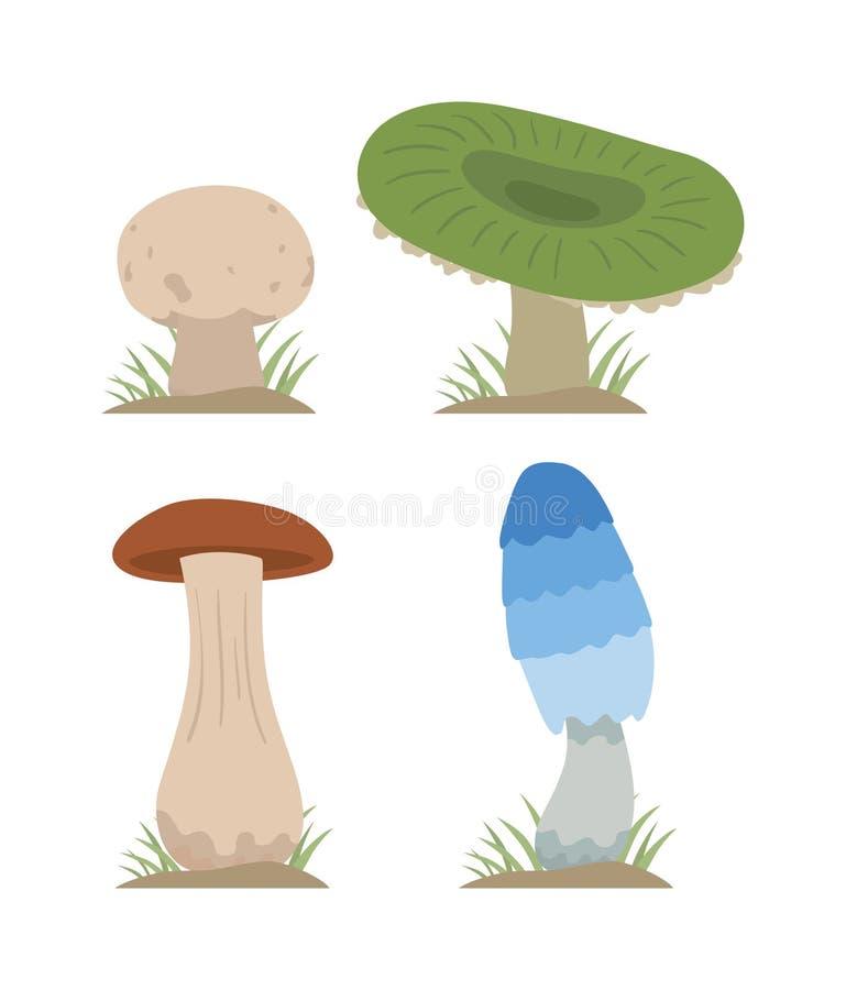 Tipos diferentes ajustados da ilustração do vetor dos cogumelos isolados no fundo branco ilustração do vetor