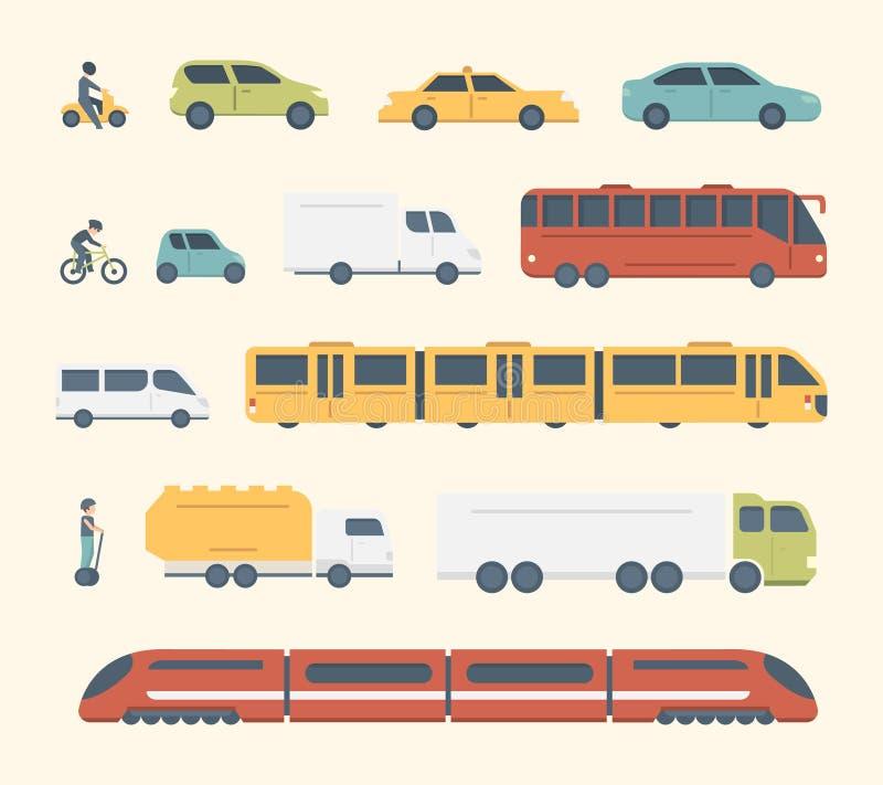 Tipos diferentes da cidade e do transporte público interurbano Ilustração ajustada do vetor do transporte Ícones do carro, do ôni ilustração royalty free