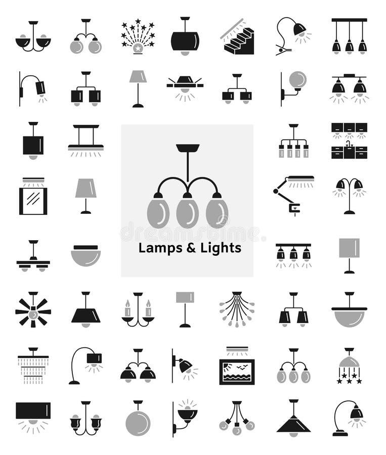 Tipos diferentes da parede, do teto, da tabela e das lâmpadas de assoalho moderno ilustração royalty free