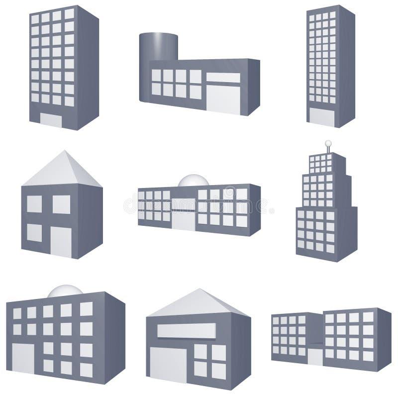 Tipos diferentes de ícones dos edifícios ajustados ilustração royalty free