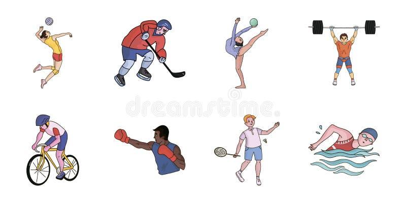 Tipos diferentes de ícones dos esportes na coleção do grupo ilustração do vetor