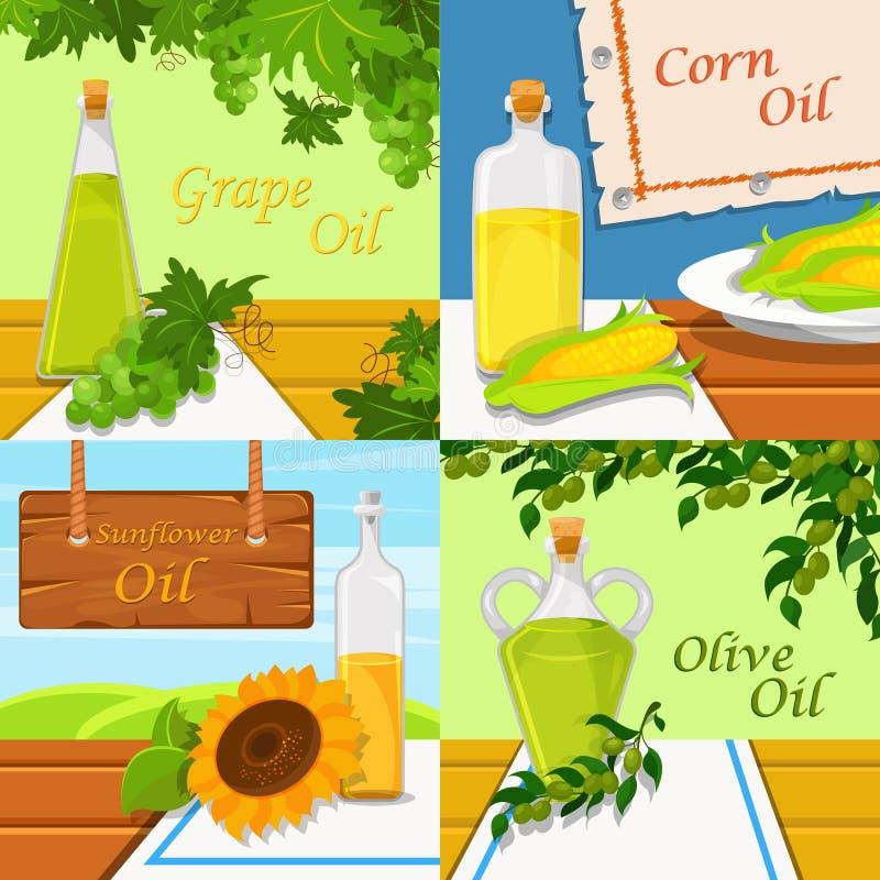 Tipos diferentes de óleos vegetais comestíveis do alimento A uva, o milho, o girassol e o azeite vector ilustrações, elemento do  ilustração do vetor