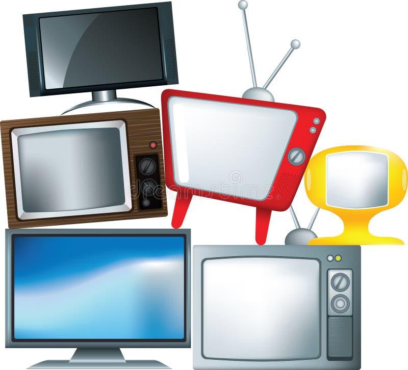 Tipos diferentes de aparelho de televisão em uma pilha ilustração royalty free